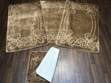 ROMANY TOURER SIZE TRAVELLERS SET NON SLIP SUPER THICK DARK BEIGE WASHABLE RUGS